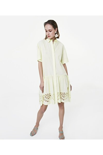 Beyaz Iş Etekli Gömlek Elbise