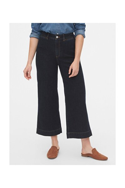 High Rise Wide-leg Crop Jean Pantolon