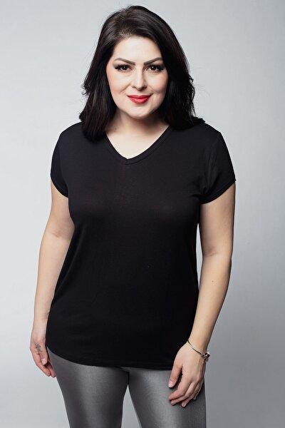 Kadın Büyük Beden V Yaka Basic Kısa Kollu Siyah Tişört