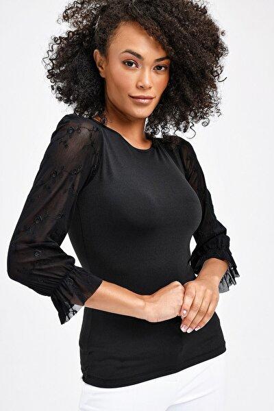 Sıfır Yaka Nakışlı Tül Detaylı Kadın Bluz - Siyah