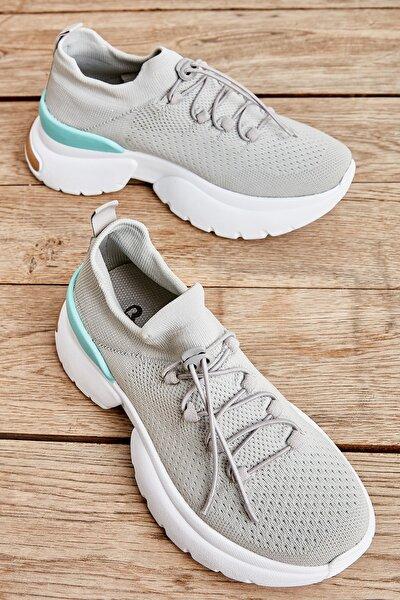 Gri Mavi Kadın Sneaker K01816153482