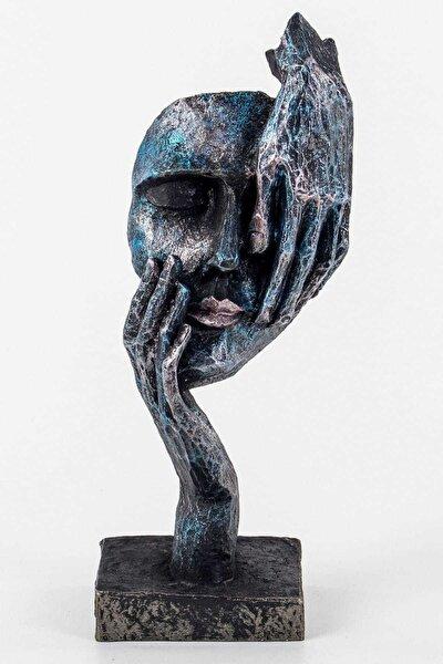 Görmedim Mask Dekoratif Biblo Mavi 28 Cm