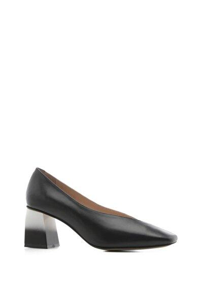 Loca Bayan Topuklu Ayakkabı Siyah-beyaz Deri