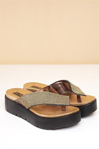 PC-2595 Bronz Kadın Sandalet