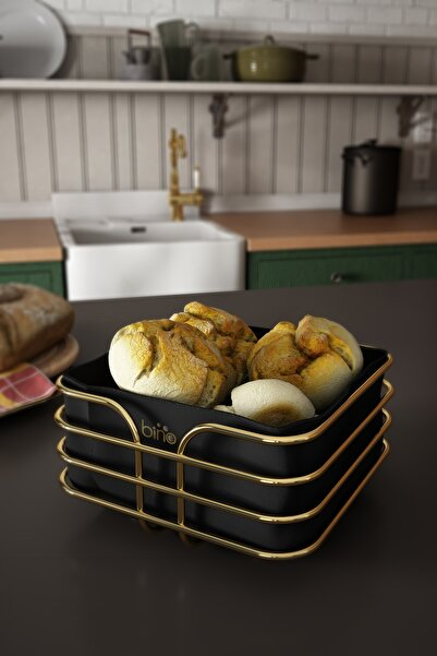 Ekmeklik Ekmek Sepeti Çok Amaçlı Metal Kutu Lüx Gold Paslanmaz Sepet Siyah Kumaş