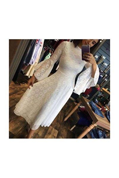 Kadın Beyaz Güpürlü Beyaz Elbise Ispanyol Kol