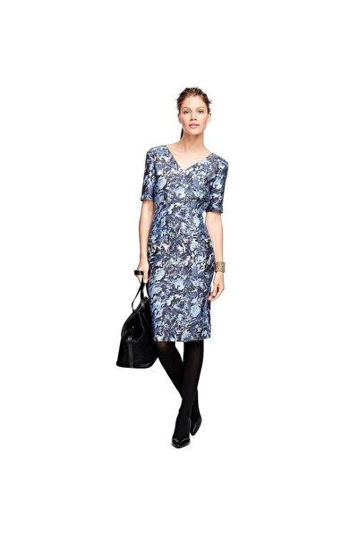 Kadın Mavi Desenli Ipek V Yaka Elbise