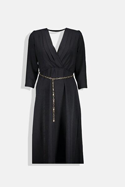 Siyah Kruvaze Yaka Pile Detaylı Truvakar Kollu Kadın Elbise