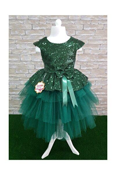 Kız Çocuk Yeşil Tüllü Abiye Elbise