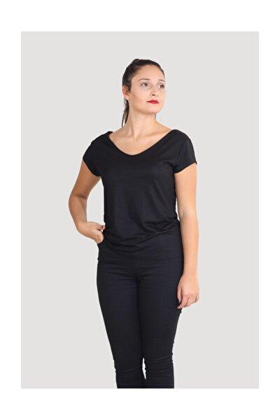 Ön Arka V Yaka Çiftkatlı Iç Göstermez Siyah Viskon Merserizeli T-shirt