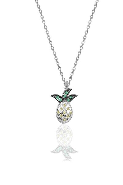 Gümüş Rodyumlu Zirkon Taşlı Ananas Modeli Kolye