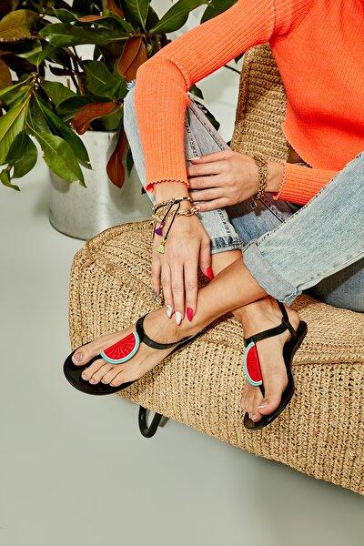Siyah Naylon Kadın Sandalet L0500902199