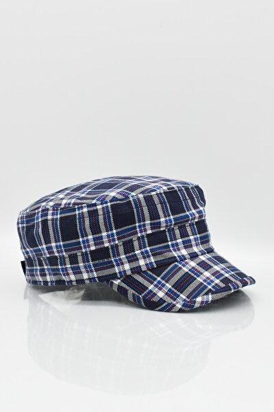 Erkek Ekoseli Kastro Kep Şapka Kasket Lacivert