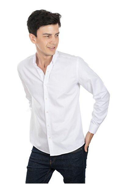 Beyaz Slim Fit Erkek Gömlek %100 Pamuk