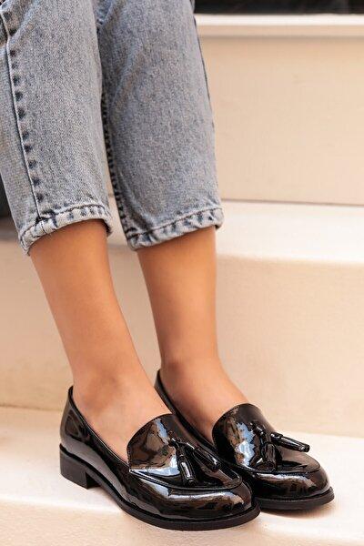 Iris Siyah Rugan Oxford Ayakkabı