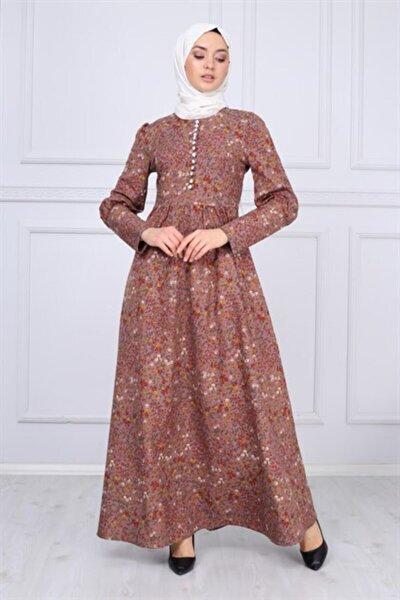 Düğme Detaylı Tesettür Elbise Lila