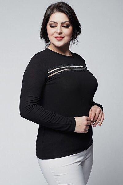 Kadın Büyük Beden Önü Taş Ve Transparan Detaylı Siyah Bluz