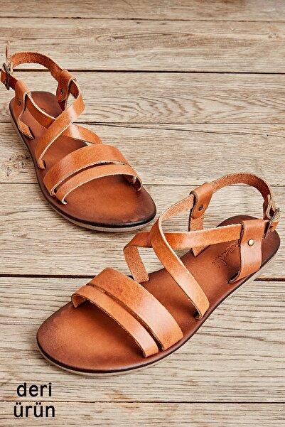 Hakiki Deri Taba Kadın Sandalet K05685162403