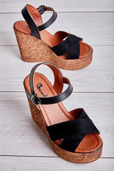Siyah Süet Kadın Dolgu Topuklu Ayakkabı L0522220065