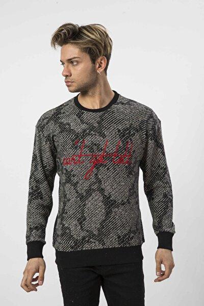 Erkek Örme Nakışlı Siyah Sweatshirt - 57238