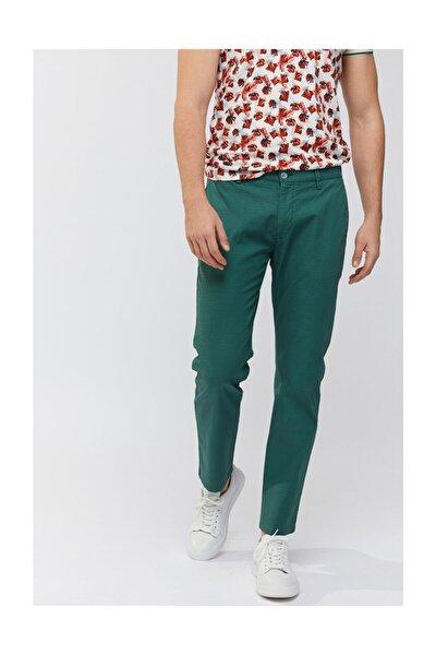 Erkek Yeşil Yandan Cepli Mikro Desenli Slim Fit Pantolon A91y3018