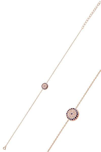 Gümüş Rose Zirkon Taşlı Nazar Modeli Bileklik