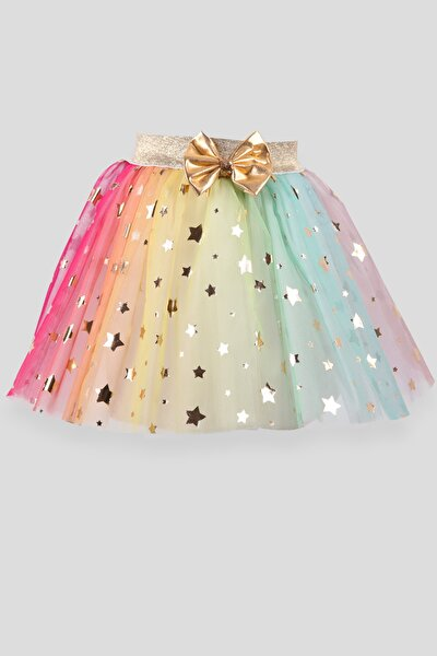 Kız Çocuk Tütü Etek Yıldızlı Fiyonku Sarı (6-12 Yaş)