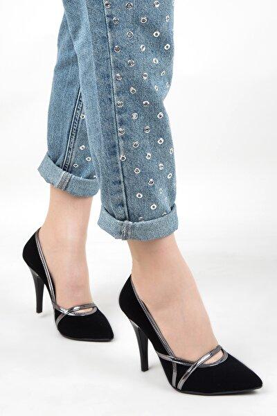 Kadın Süet Topuklu Ayakkabı Siyah Platin