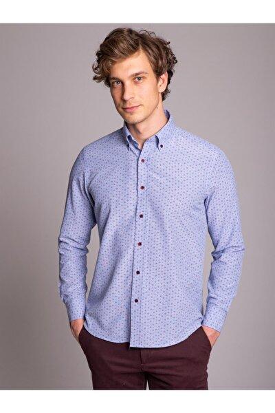 Koyu Mavi Baskılı Erkek Gömlek - Regular Fit
