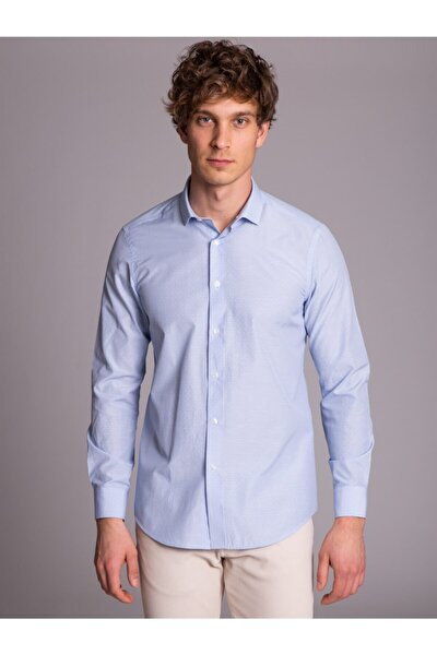Açık Mavi Nokta Desenli Pamuk Karışımlı Erkek Gömlek - Slım Fıt