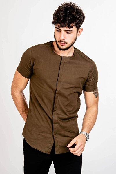 Erkek Yakasız Kısa Kol Haki Gömlek - 46125
