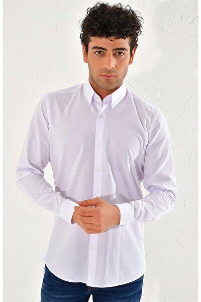 G 1442 Slim Fit Beyaz Spor Gömlek