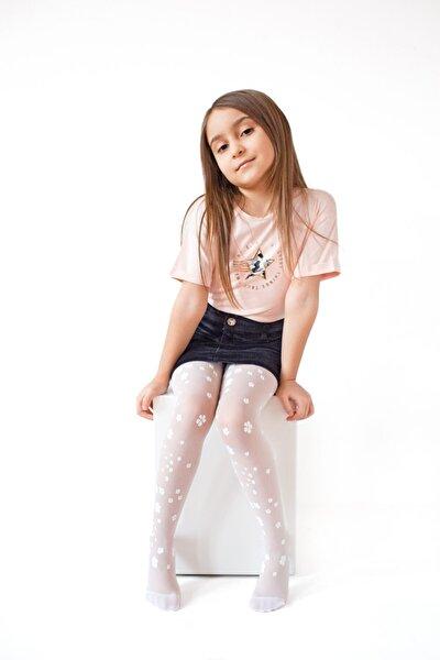 Beyaz Renk Papatya Desenli Çocuk Külotlu Çorabı