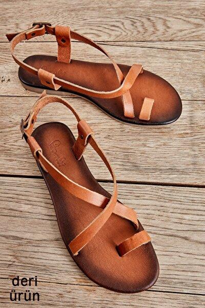Hakiki Deri Taba Kadın Sandalet K05685162103