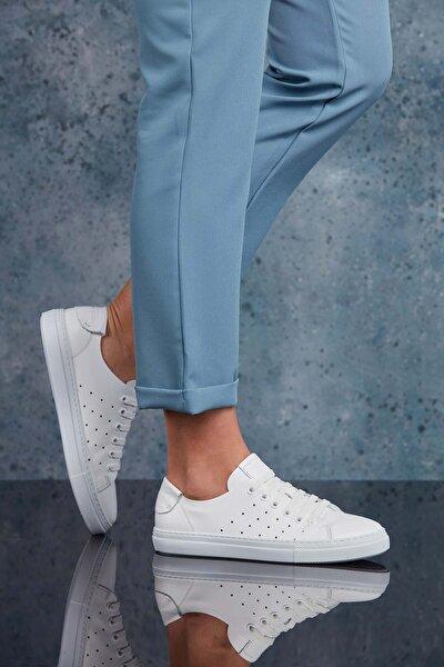 Hakiki Deri Beyaz Kadın Sneaker