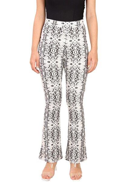 Yılan Desenli Ispanyol Paça Pantolon Siyah-beyaz (B19-49112)