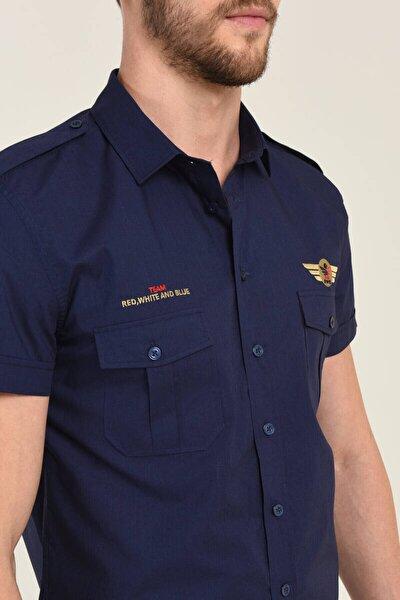 Erkek Nakışlı Lacivert Gömlek