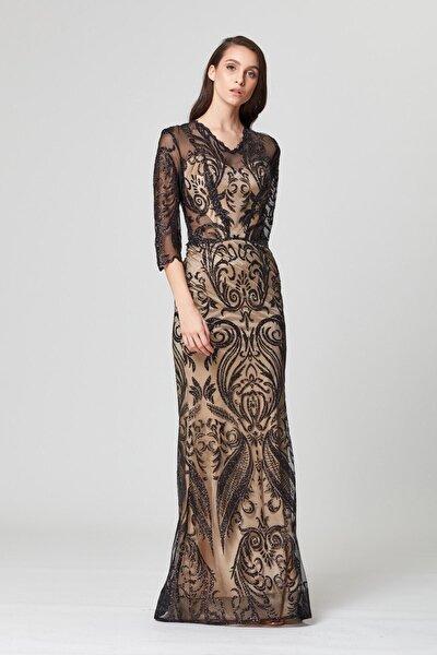 Siyah Transparan Detaylı Simli Uzun Abiye Elbise