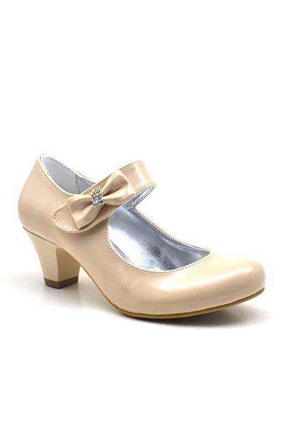 Rugan Taşlı Ten Rengi Topuklu Kız Çocuk Abiye Ayakkabı