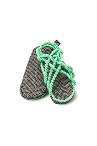 - Jc Gri-neon Yeşil Hasır Ip Sandalet