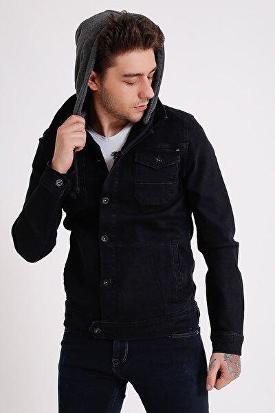 Erkek Çıkarılabilir Kapüşonlu Yıkamalı Siyah Kot Ceket