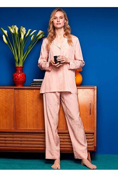 Penye Mood 8605 Önden Düğmeli Pijama Takımı - - Pudra - S