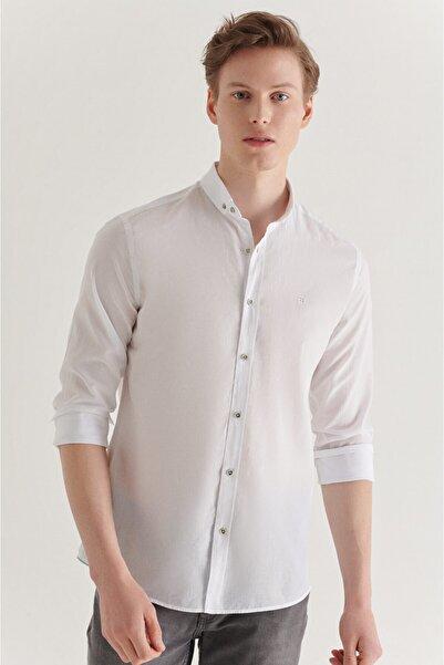 Erkek Beyaz Düz Düğmeli Yaka Slim Fit Uzun Kol Vual Gömlek A11b2206