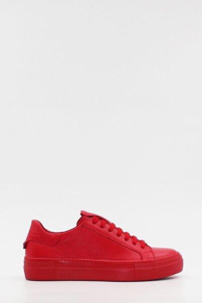 Hakiki Deri Kırmızı Kadın Spor Ayakkabı