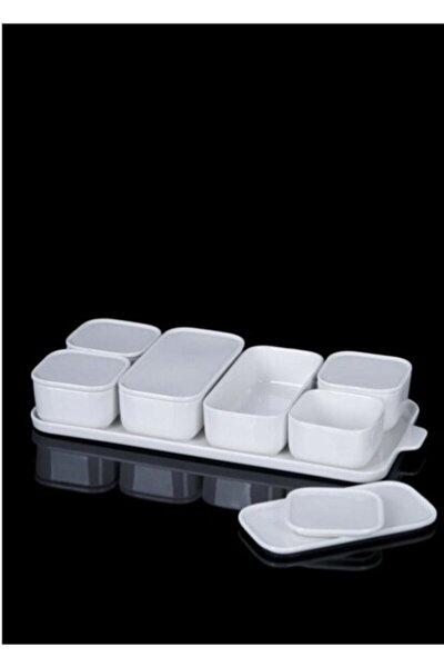 Pure White 7'li Porselen Kapaklı Kahvaltılık