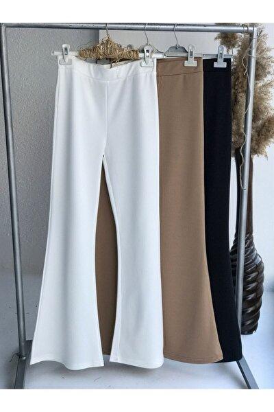 Kadın  Ispanyol Mira Pantolon - Beyaz