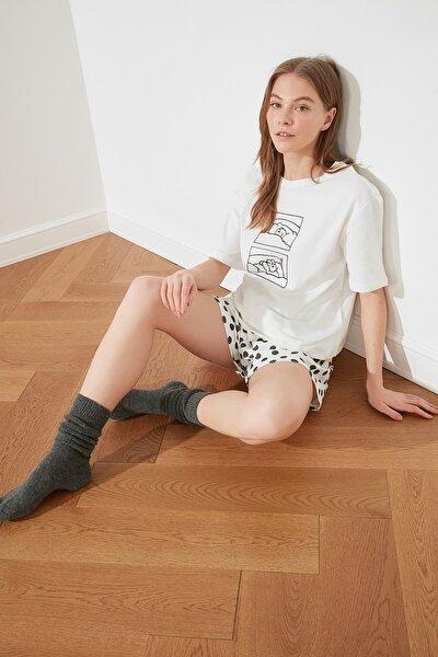 Siyah-Beyaz Puantiyeli Örme Pijama Takımı THMSS21PT0627