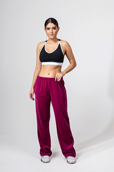 Kadın Fuşya Kadife Bol Paça Pantolon