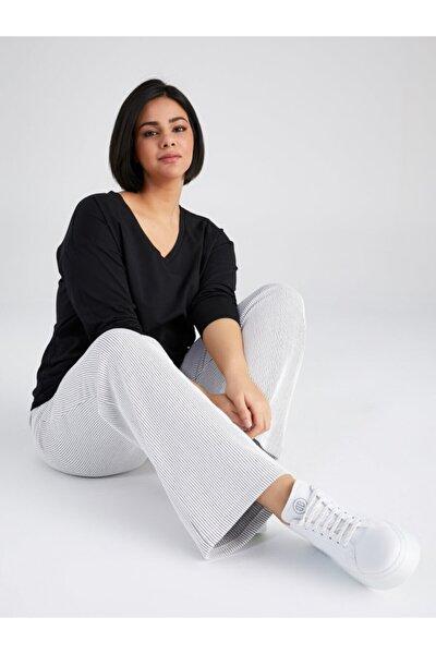 Kadın Siyah V Yaka Uzun Kol T-shirt 61823