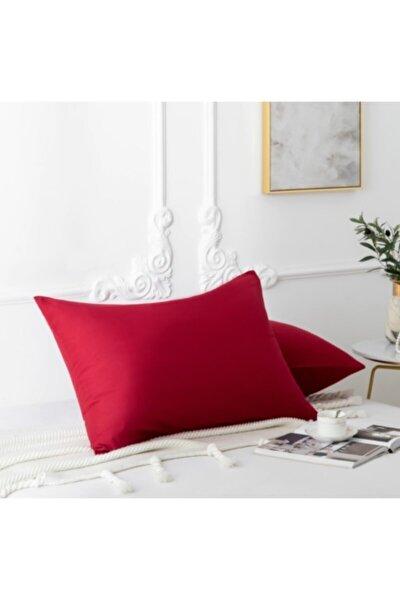 Kırmızı Doğal Pamuk Yastık Kılıfı Seti (2li Set - 50x70)
